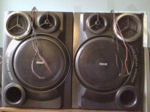 Bass reflex - RCA bass reflex shelf stereo speakers.