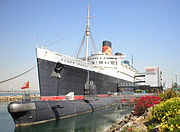 The Queen Mary is now a hotel in Long Beach, California, alongside a Russian Foxtrot-class submarine