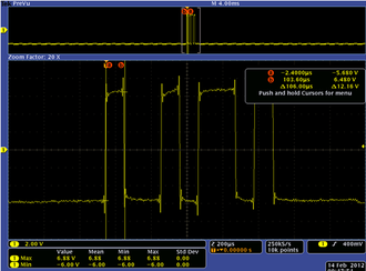 "RS-232 - RS-232 data line on the terminals of the receiver side (RxD) probed by an oscilloscope (for an ASCII ""K"" character (0x4B) with 1 start bit, 8 data bits, 1 stop bit, and no parity bits)."