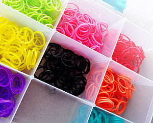 Rainbow Loom - Multicolored rubber bands, used to create items with the Rainbow Loom