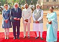 Ram Nath Kovind and the Prime Minister, Shri Narendra Modi with the President of the Federal Republic of Germany, Dr. Frank-Walter Steinmeier, at the Ceremonial Reception, at Rashtrapati Bhavan, in New Delhi.jpg