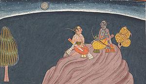 Bhrngadutam - Rāma and Lakṣmaṇa on mount Pravarṣaṇa, the setup of Bhṛṅgadūtam
