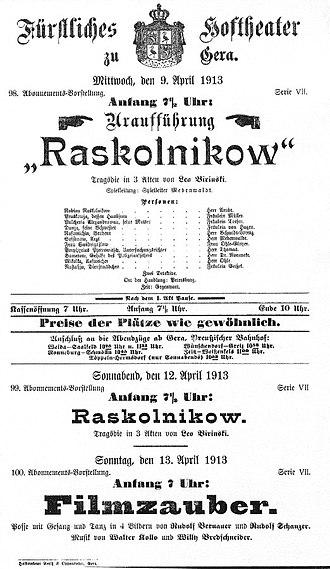 Leo Birinski - Image: Raskolnikow 1913 poster