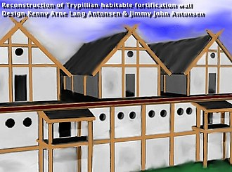 Settlements of the Cucuteni–Trypillia culture - Reconstruction of habitable fortification wall Maydanets 4000 B.C.