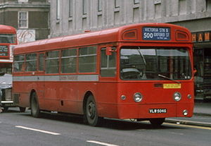 AEC Swift - AEC Merlin on Red Arrow route 500 on Oxford Street in 1976