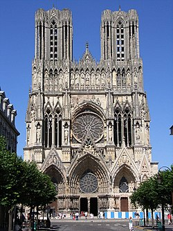 The western facade of Reims Cathedral, France.