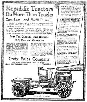 Republic Motor Truck Company - A 1918 Republic Tractor advertisement in the Syracuse Herald, June 6, 1918.