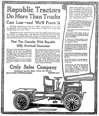 Republic Motor Truck Company - A 1918 Republic Tractor advertisement in the Syracuse Herald, June 6, 1918.
