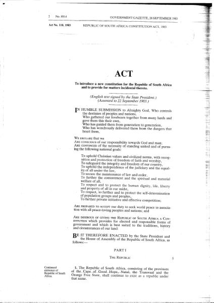 File:Republic of South Africa Constitution Act 1983 from Government Gazette.djvu