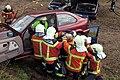 Rescue operation from crashed vehicle at training of the safety cooperation Rheineck-Thal-Lutzenberg (SV-RTL). Sicherheitsverbund R-T-L, Buriet, Switzerland, Feb 28, 2015. (Anm.- Die junge Frau die (16685454512).jpg