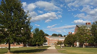 Wesleyan College - The residential courtyard featuring the Loggia in the distance
