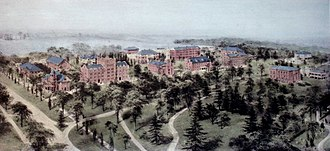 Hamilton College - Hamilton College as painted from a hot-air balloon by watercolor artist Richard Rummell in the early 1900s.