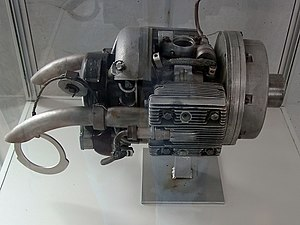 Heinkel HeS 011 - A Riedel two-stroke APU motor, which was installed atop the 011's intake passage for starting the turbojet