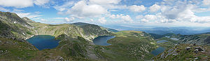 Panoramic photo of the Seven Rila Lakes in the...