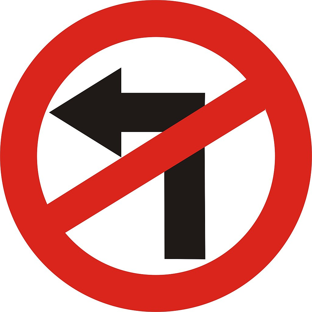 File:Road Sign No Left Turn.jpg - Wikimedia Commons
