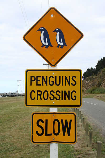 File:Road Sign Penguins Crossing NZ.jpg