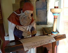 Robert Henryson, as portrayed in the Abbot House, Dunfermline.jpg