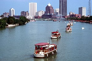 Western New York - Barges on the Genesee River in Rochester