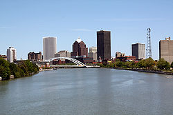 A portion of Rochester's skyline, looking north-northeast along the Genesee River from the Ford Street Bridge.