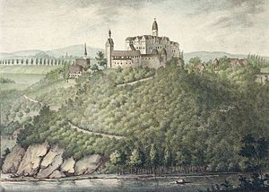 Rochsburg Castle - Schloss Rochsburg around 1830
