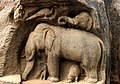 Rock Cut Sculpture, Representing The Group Of Elephants, Monkey And Peacock - Mamallapuram - Tamilnadu.jpg