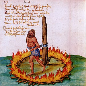 Capital punishment - The burning of Jakob Rohrbach, a leader of the peasants during the German Peasants' War.