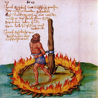 The burning of Jakob Rohrbach, a leader of the peasants during the German Peasants' War. Rohrbach-verbrennung-1525.jpg