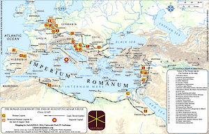 Roman legion - Map of Roman legions by 14 AD.Source: http://f.hypotheses.org/wp-content/blogs.dir/1447/files/2014/05/Roman-legions-14-AD-Centrici-site-Keilo-Jack.jpg