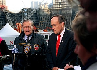 Rudy Giuliani - Donald Rumsfeld and Giuliani at the site of the World Trade Center on November 14, 2001
