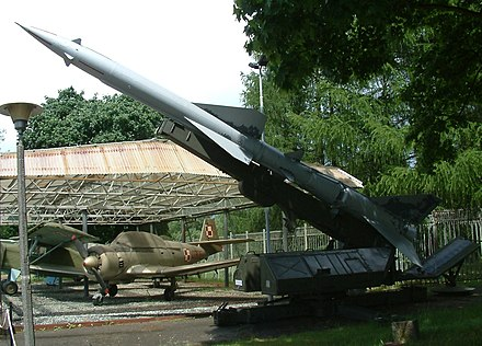 S-75 Dvina with V-750V 1D missile (NATO SA-2 Guideline) on a launcher. An installation similar to this one shot down Major Anderson's U-2 over Cuba. S-75 Dzwina RB2.jpg