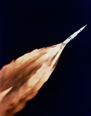 Apollo 6 - This view of the Apollo 6 launch was taken from a chase plane.