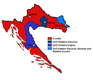 SAO Krajina - SAO Krajina (eastern purple area) within SR Croatia (red).