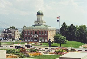Utah State Legislature - Council Hall as seen from in front of the State Capitol c. 2002.