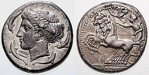 Syracuse, Sicily - A Syracusan tetradrachm (c. 415–405 BC), sporting Arethusa and a quadriga.