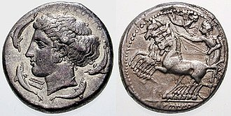 Ancient Greek coinage - A Syracusan tetradrachm (c. 415–405 BC) Obverse: head of the nymph Arethusa, surrounded by four swimming dolphins and a rudder Reverse: a racing quadriga, its charioteer crowned by the goddess Victory in flight.