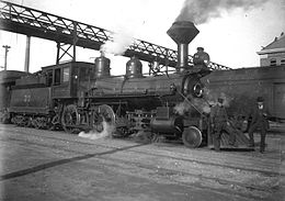Locomotiva n. 32 della San Pedro, Los Angeles e Salt Lake Railroad, inizio 1900
