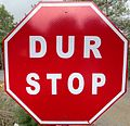 STOP-DUR sign in North Cyprus.JPG
