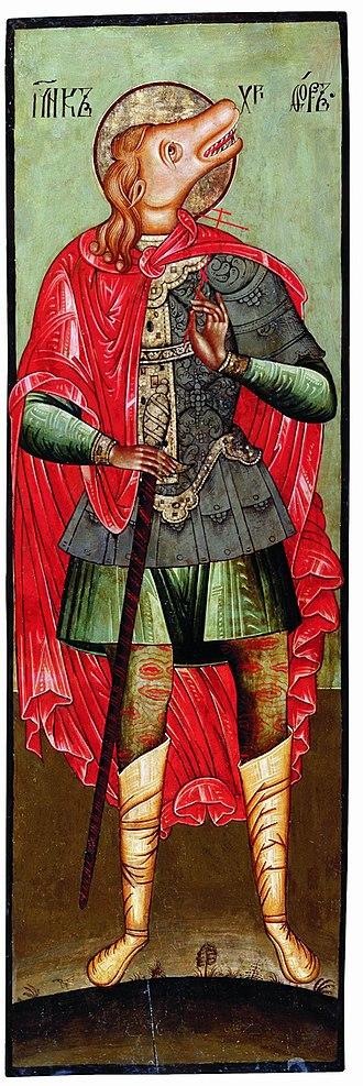 Slavic Native Faith and mono-ideologies - Image: Saint Christopher Icon from Cherepovets
