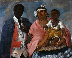 "Zambo - ""From a black man with a mulata produces a Sambo"", Indian school, 1770."