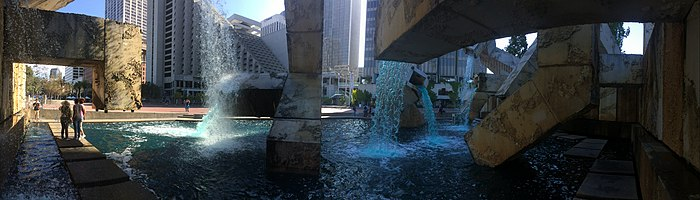 Panoramic photo taken from inside Vaillancourt Fountain