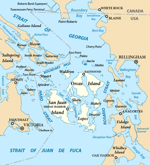 English: Map of the San Juan Islands (highligh...