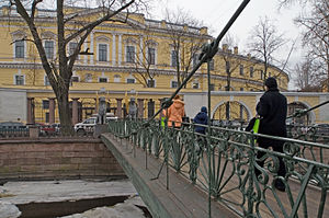 Assignation ruble - Assignation Bank building in St. Petersburg today; Bank Bridge in the foreground