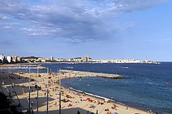 View of Palamós from the beach of Sant Antoni de Calonge