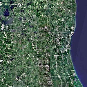Lake County, Illinois - A satellite view of the Lake County district