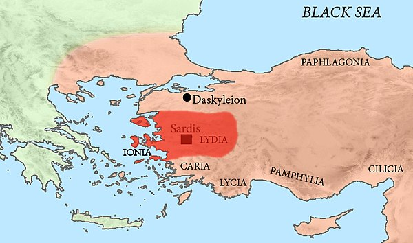 Tissaphernes was Satrap of Lydia, including Ionia, under the Achaemenid Empire. Satrapy of Lydia.jpg