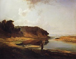 Alexei Kondratievich Savrasov: Landscape with river and angler