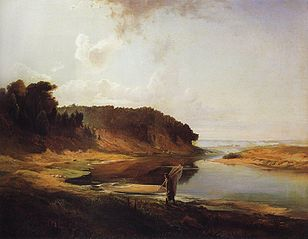 Landscape with river and angler