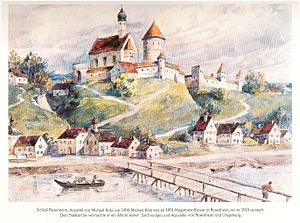 Rosenheim - Schloss Rosenheim in 1900, watercolour by Michael Kotz