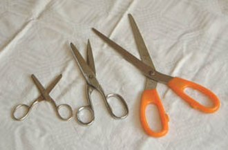 Cutting - Different types of scissors – sewing (left), paper (middle), kitchen (right)