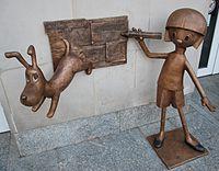 Sculpture of main characters from cartoon 'Zaczarowany ołówek', Łódź Culture Center.jpg